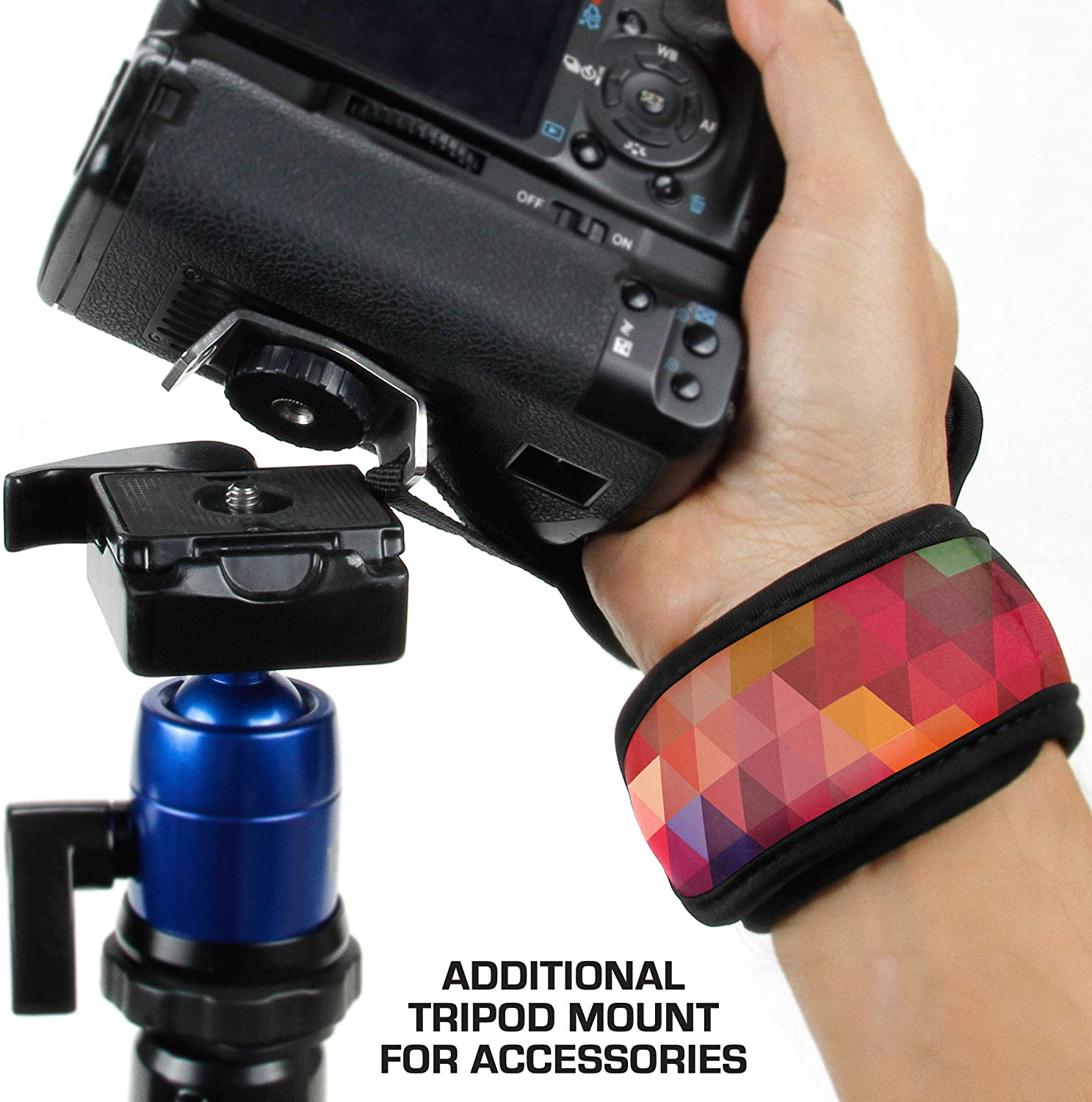 Point /& Shoot Cameras Mirrorless Compatible with Canon Sony and more DSLR Nikon USA GEAR Professional Camera Grip Hand Strap with Floral Neoprene Design and Metal Plate Fujifilm