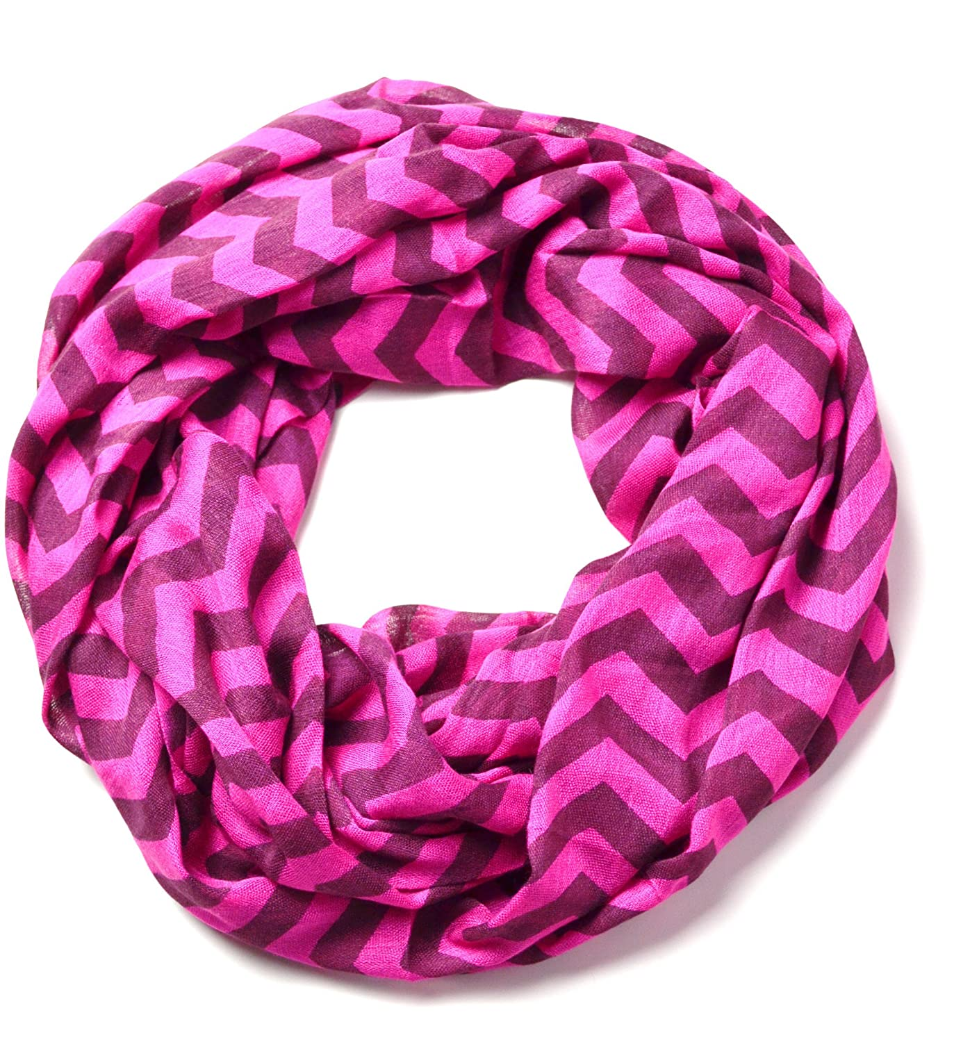 Hot Pink Chevron Zigzag Print Infinity Loop Circle Eternity Fashion Scarf