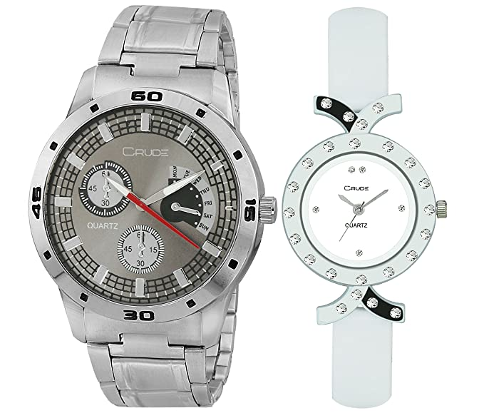 Couple Combo Watch-rg714 with Stainless Steel & PU Strap for Men's & Women's