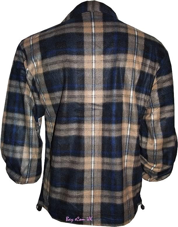Mens Fleece Lumberjack Check Winter Work Shirt Thermal Casual Jacket M-3XL