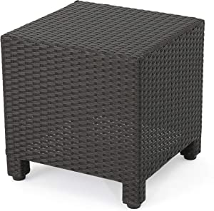 Christopher Knight Home Puerta Outdoor Wicker Side Table, Dark Brown