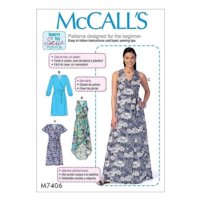 Amazon.com: MCCALLS M7406 MISSES DRESSES & BELT (SIZE 6-14) LEARN-TO ...