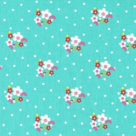 Tela flores y puntos (blanco, fucsia, rosa claro, verde hoja y rojo