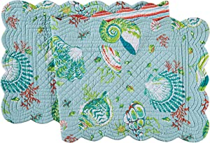 C&F Home Laguna Breeze Cotton Quilted Reversible Table Cotton Machine Washable Runner 1451 Table Runner Multi