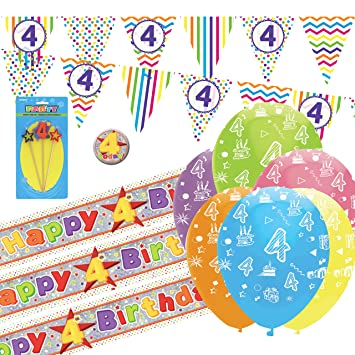 4th Birthday Kit Bunting Banners Balloons Candle Amazoncouk Toys Games