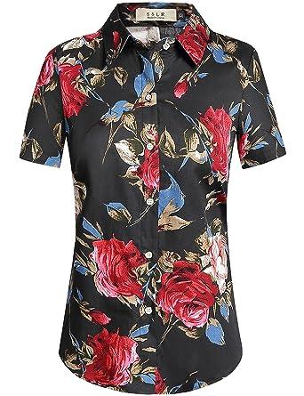 e900d0fa5 SSLR Women's Rose Button Down Hawaiian Casual Short Sleeve Floral Shirt (X- Small,