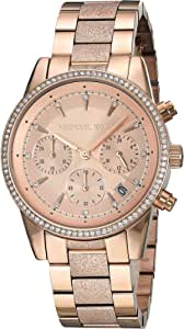 Michael Kors Women's Ritz Analog-Quartz Watch with Stainless-Steel-Plated Strap, Rose Gold, 18 (Model: MK6598)