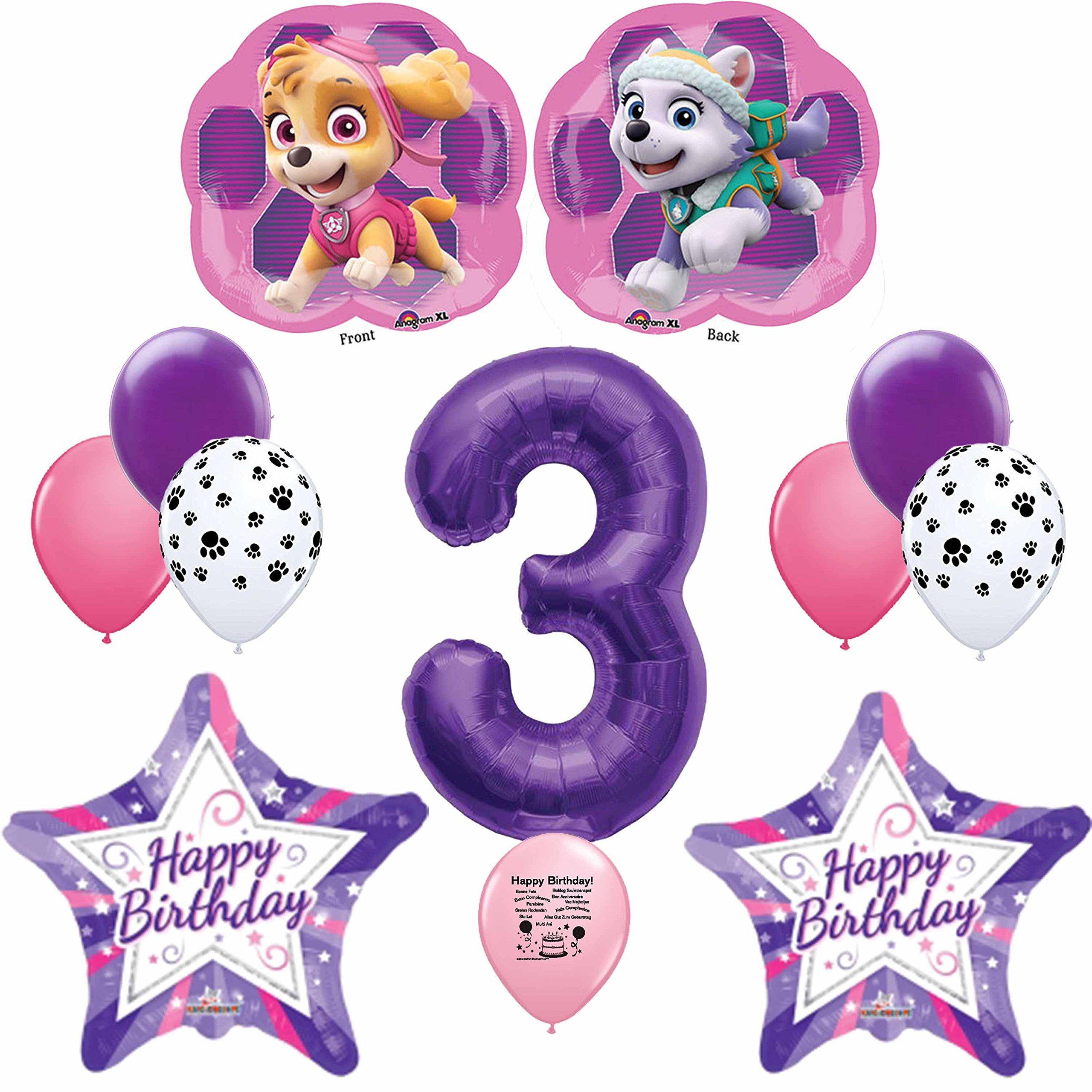 Details About Paw Patrol Party Supplies Skye Pink Happy 3rd Birthday Balloon Decoration Kit