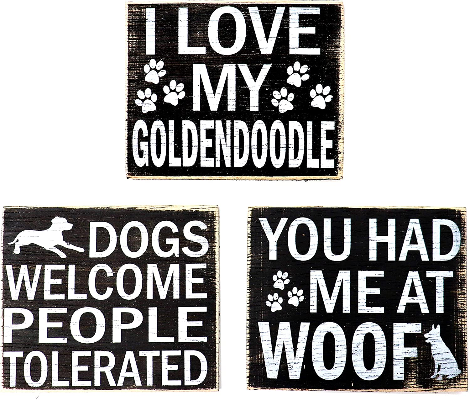 JennyGems - Goldendoodle Refrigerator Magnet - Set of 3 - I Love My GoldenDoodle, You Had Me at Woof, Dogs Welcome People Tolerated, Goldendoodle Gifts, Wood, Rustic, Shabby Chic