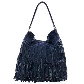 2b9c945ef7e7 BACCINI Beuteltasche Leder Samira groß Hobo Bag Damen Schultertasche echte  Ledertasche Damentasche blau