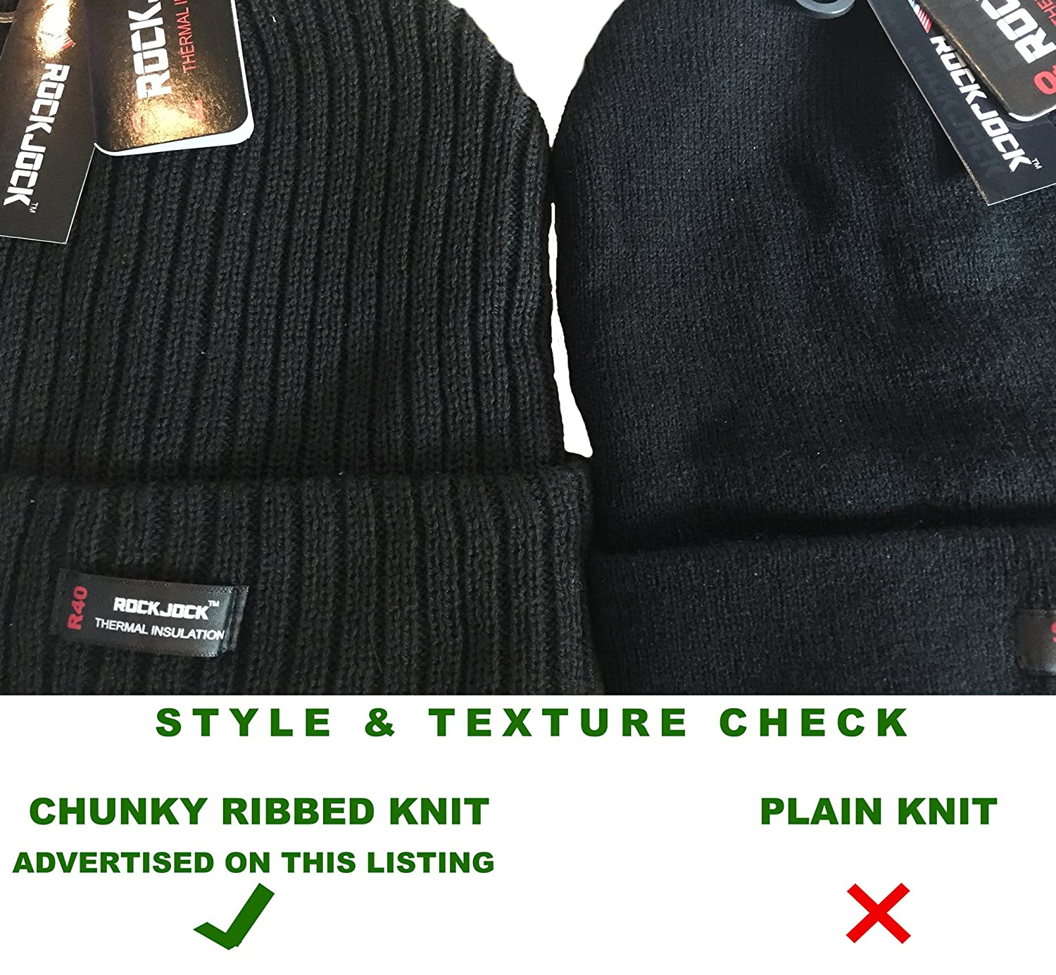 bcdf96335fafb Mens Black  Rockjock  Thermal Thinsulate Winter Hat (Style  Chunky Rib Knit  with Rockjock R40 Lining) and  Handy  Thermal Gloves Set  Amazon.co.uk   Sports   ...