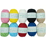 Charmkey 10 Assorted Colors Candy Mini Yarn Skeins 100% Cotton - Perfect for Any Crochet and Knitting Mini Project and DIY Handcrafts (10x30g)