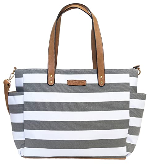 Gray Stripe Tote Bag by White Elm -The Aquila (New Edition) Canvas & Vegan Leather