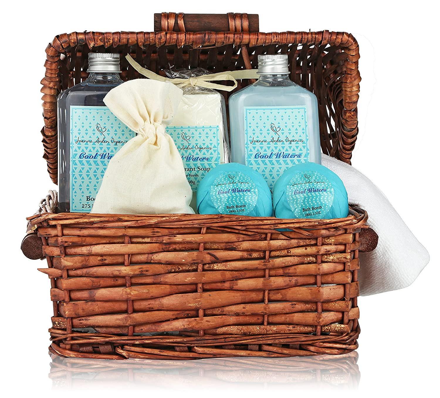 amazoncom deluxe spa basket cool waters gift baskets for men women bath body gift set for christmas gift birthday gift thank you gift basket