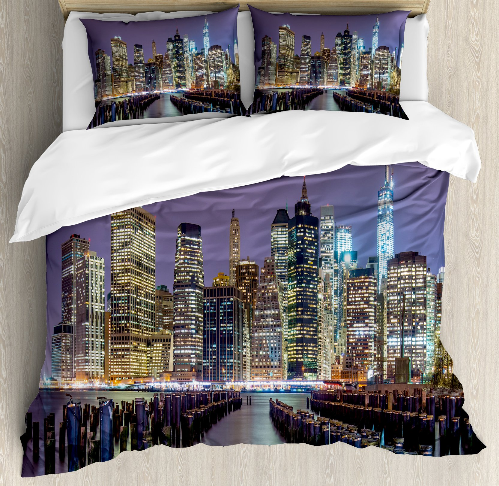 Lunarable New York City Duvet Cover Set Queen Size, Lower Manhattan Skyline from Across the East River United States of America, Decorative 3 Piece Bedding Set with 2 Pillow Shams, Lilac Yellow