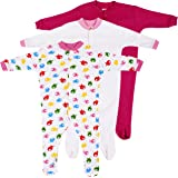 Baby Grow Minni Berry Long Sleeve Cotton Sleep Suit Romper Set of 3 For Girls (3-6M)
