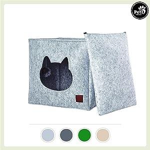 Pets & partner® Gatto Grotta/Gatto Letto in Feltro con Cuscino e Gatto Giocattolo | Adatto per Ikea Kallax e Expedit Regal…