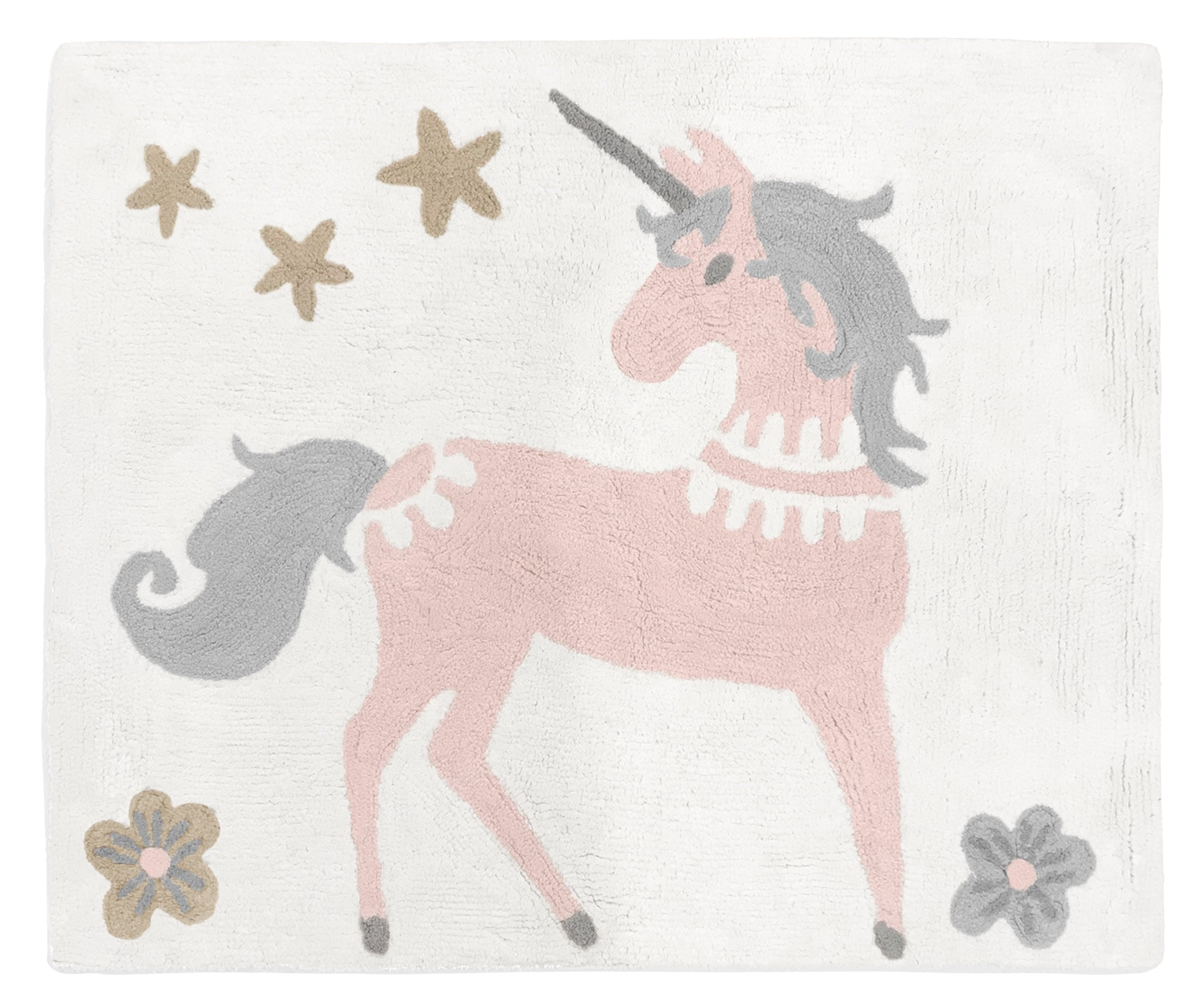 Sweet Jojo Designs Pink, Grey and Gold Accent Floor Rug or Bath Mat for Unicorn Collection