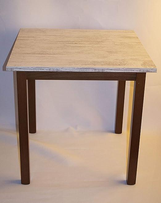 Mesa de Madera de 80 x 80 cm, Patas de Color Nogal, Tablero de ...