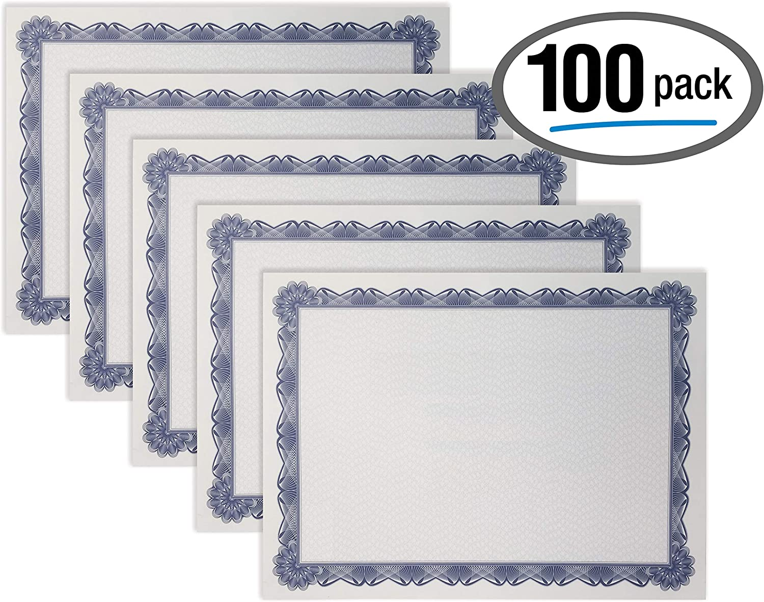 100 Sheet Certificate Paper, Blue Border, Letter Size Blank Paper, by Better Office Products, Specialty Award, Diploma Certificate Paper, Laser and Inkjet Printer Friendly, 8.5 x 11 Inches, 100 Count