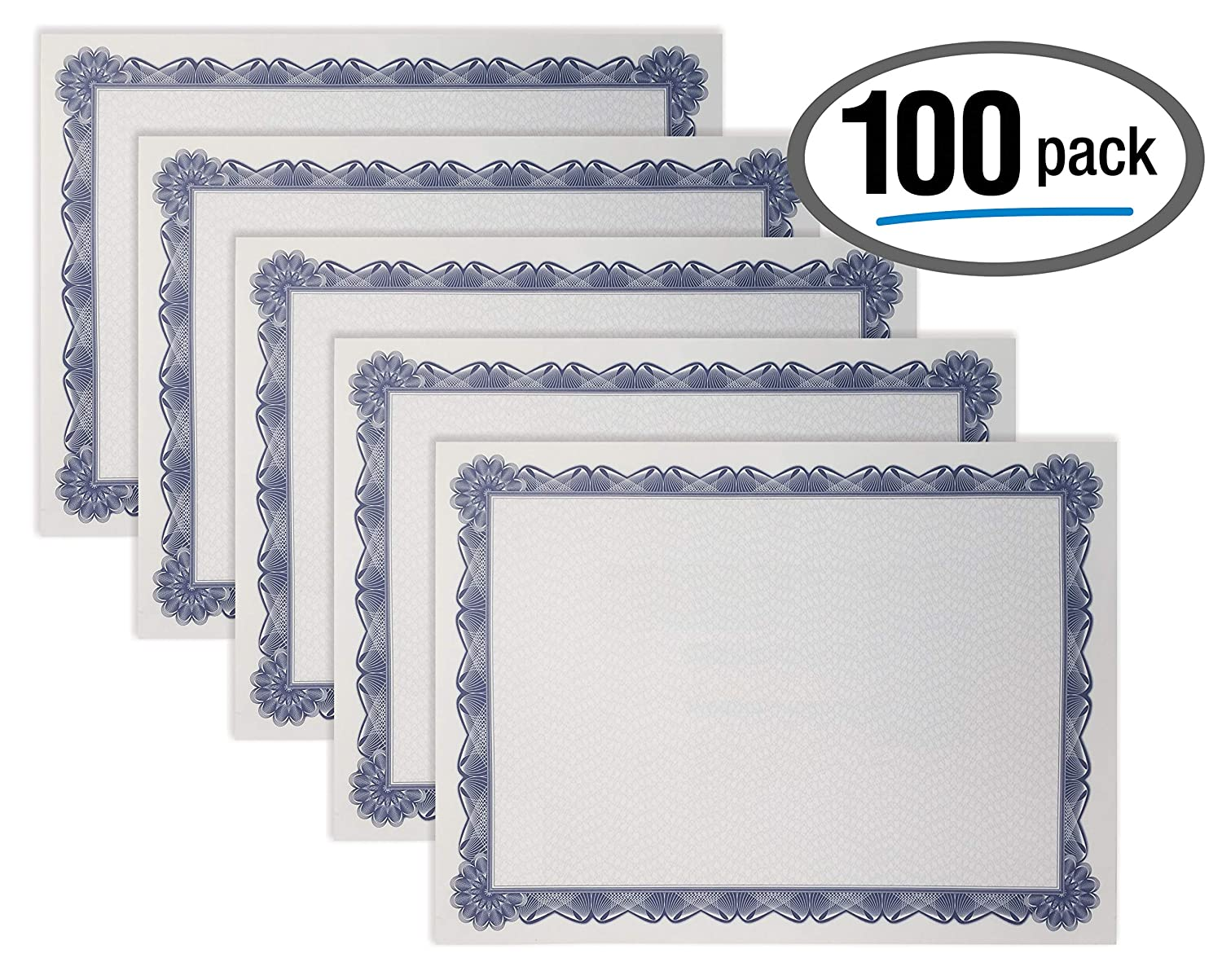100 Sheet Certificate Paper, Blue Border, Letter Size Blank Paper, by Better Office Products, Specialty Award, Diploma Certificate Paper, Laser and Inkjet Printer Friendly, 8.5 x 11 Inches, 100 Count 91LpatkvH2BL