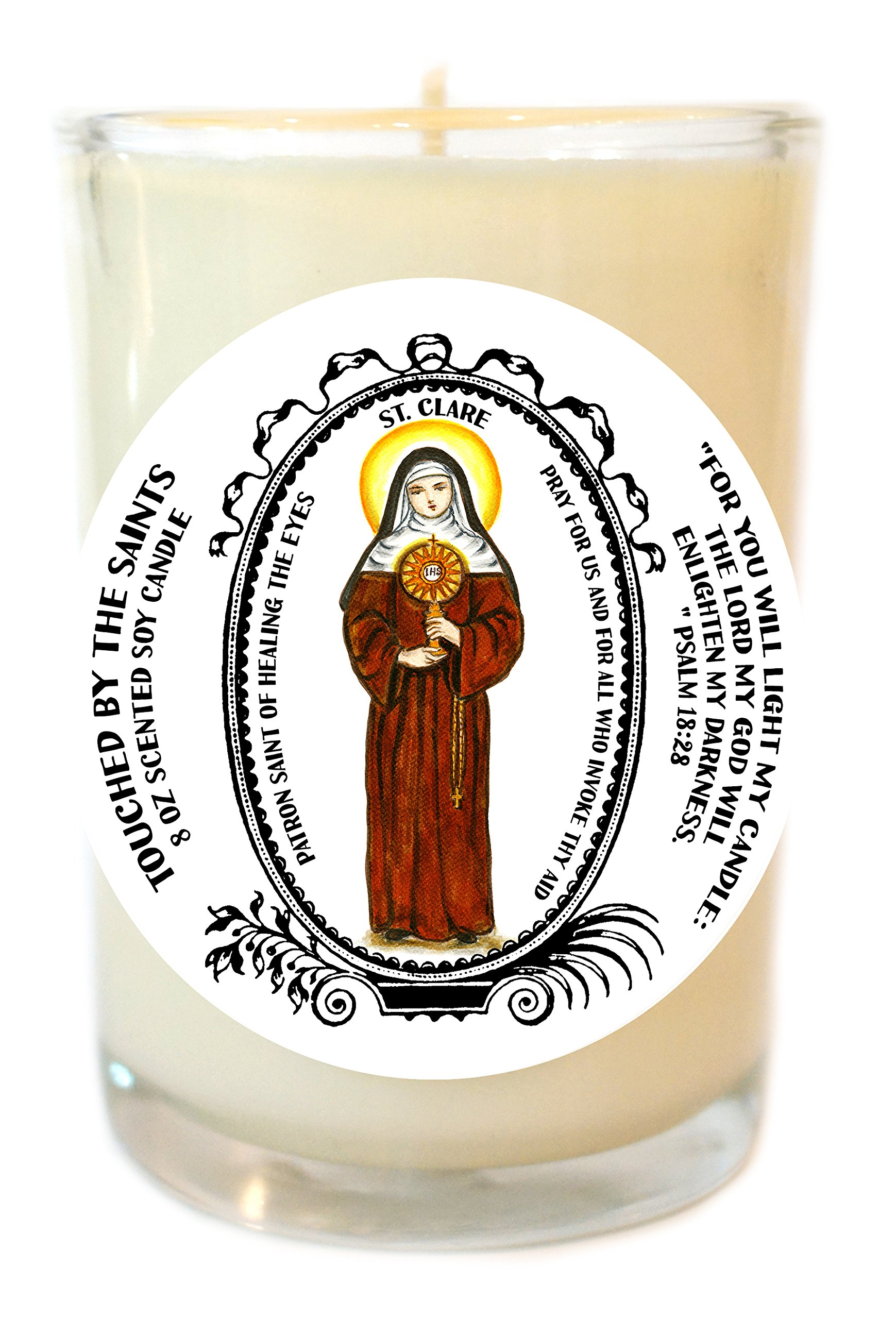 Saint Clare for Healing the Eyes 8 Oz Scented Soy Glass Prayer Candle