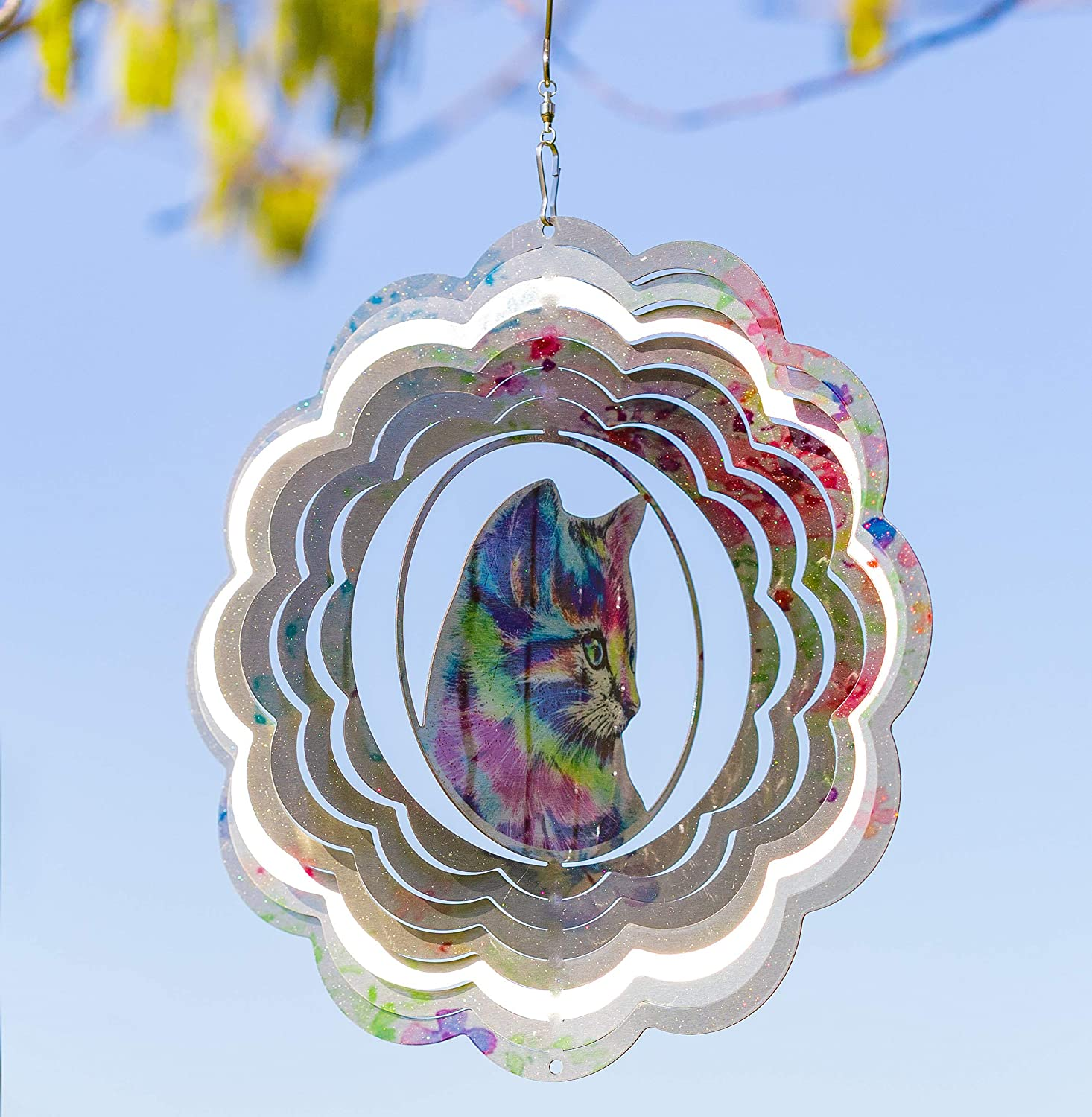 VP Home Kinetic 3D Metal Outdoor Garden Decor Wind Spinner (Colorful Cat)