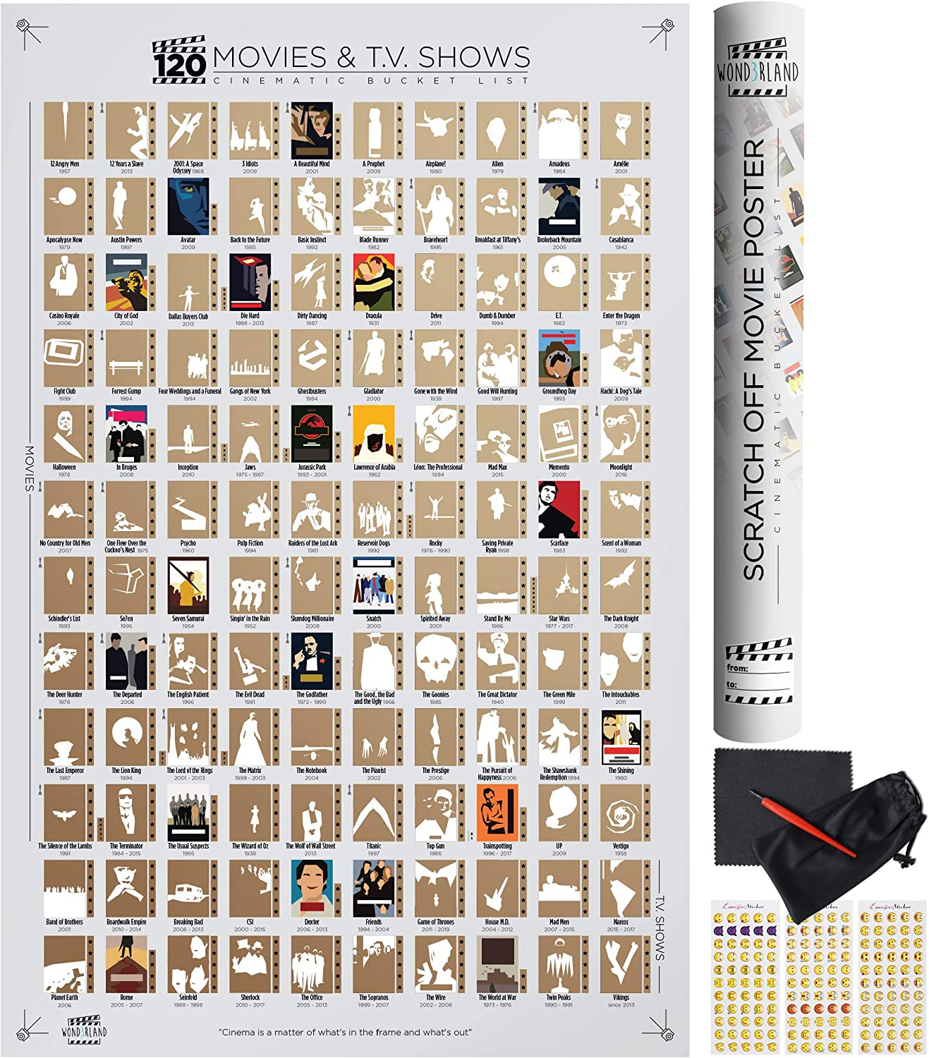 Wond3rland Premium Scratch Off Movie Poster with 100 Films & 20 TV Shows   Unique White Cinematic Bucket List   Deluxe Gift for Cinema Lovers   Bonus - Complete Accessories Set Included