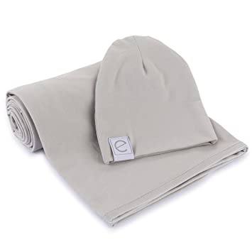 b5ccc44e3 Cotton Knit Jersey Swaddle Blanket and 2 Beanies Gift Set, Large Receiving  Blanket - Grey