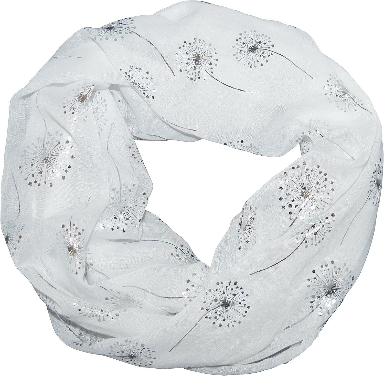 thb Richter Loopschal Rundschal mit Pusteblume Dandelion Muster Schlauchschal Schals Halstuch Loop Natur Pusteblumen Blumen Print Silber-Aufdruck