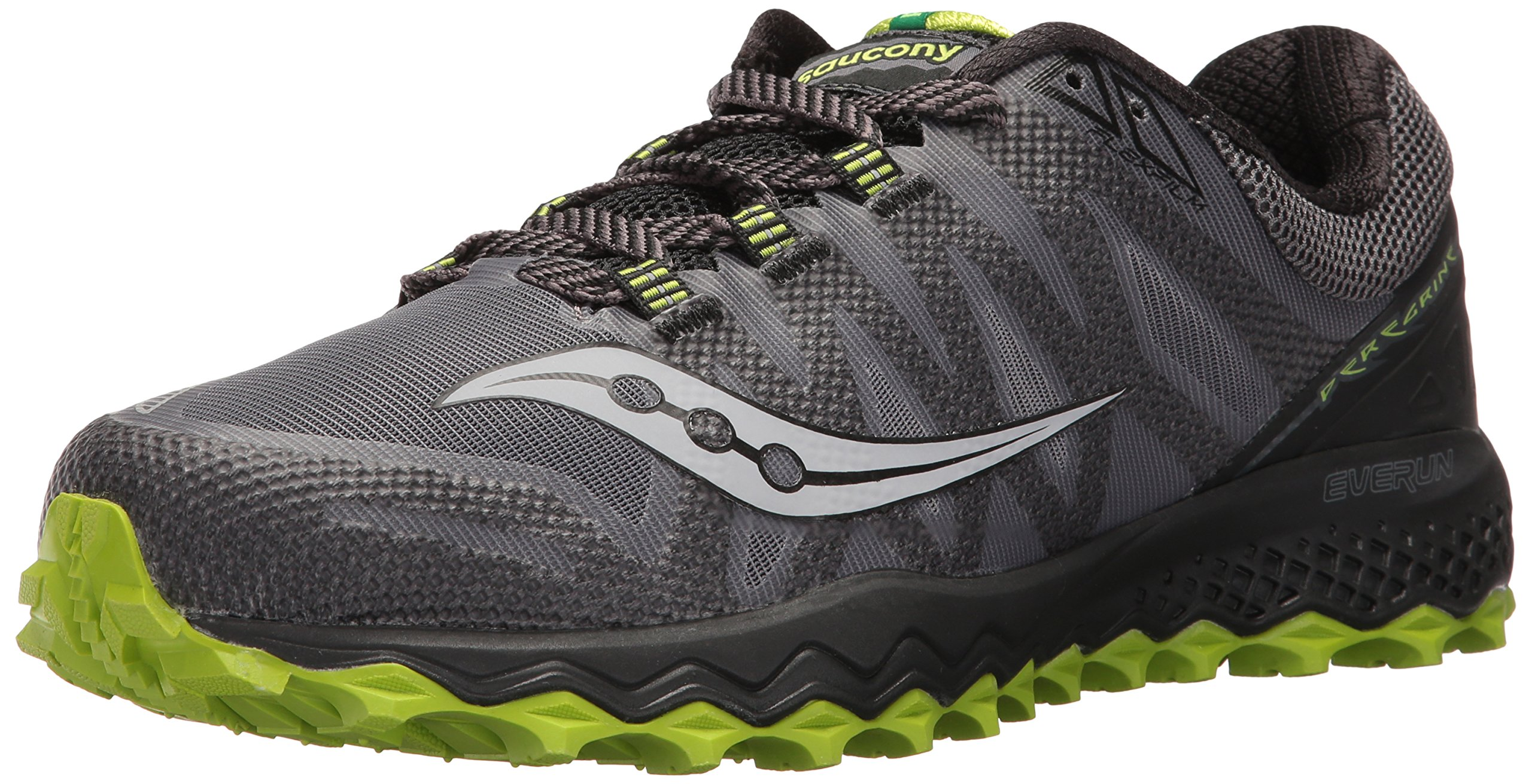 Saucony Men's Peregrine 7 Trail Runner, Grey/Black/Lime, 10.5 M US (S20359-2) by Saucony