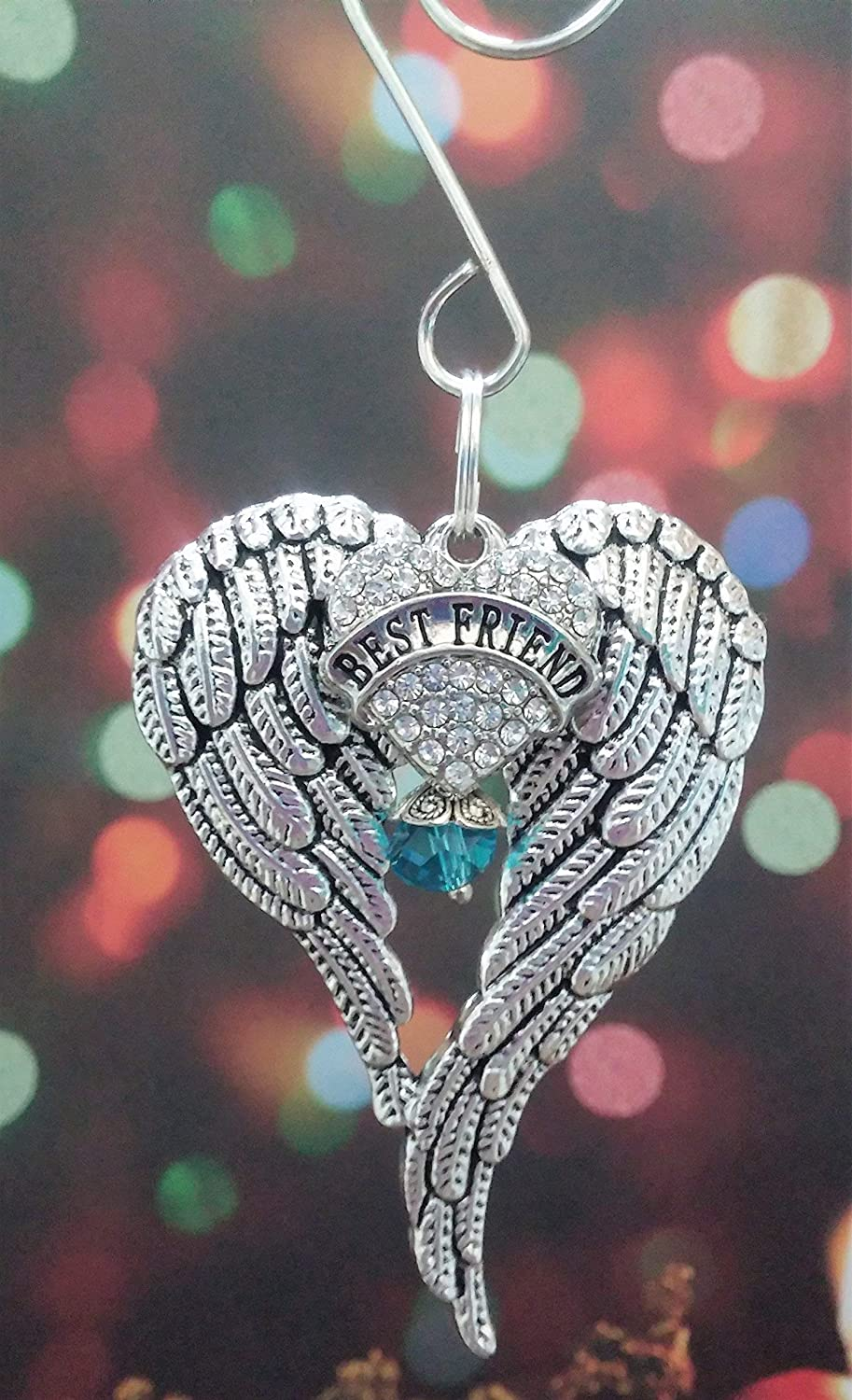 Mom Angel Wings Memorial Ornament In Memory Gift with Rhinestone Heart and Purple Crystal