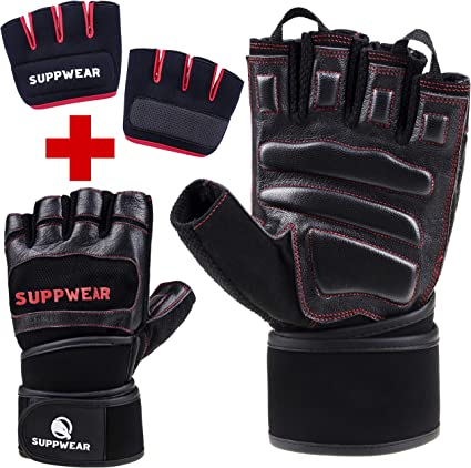 SUPPWEAR Weight Lifting Gloves Womens Gym Gloves for Fitness Exercises /& Female Cross Fit Training with Anti Callus Protection Pads /& Extra Bonus Gripper Workout Gloves