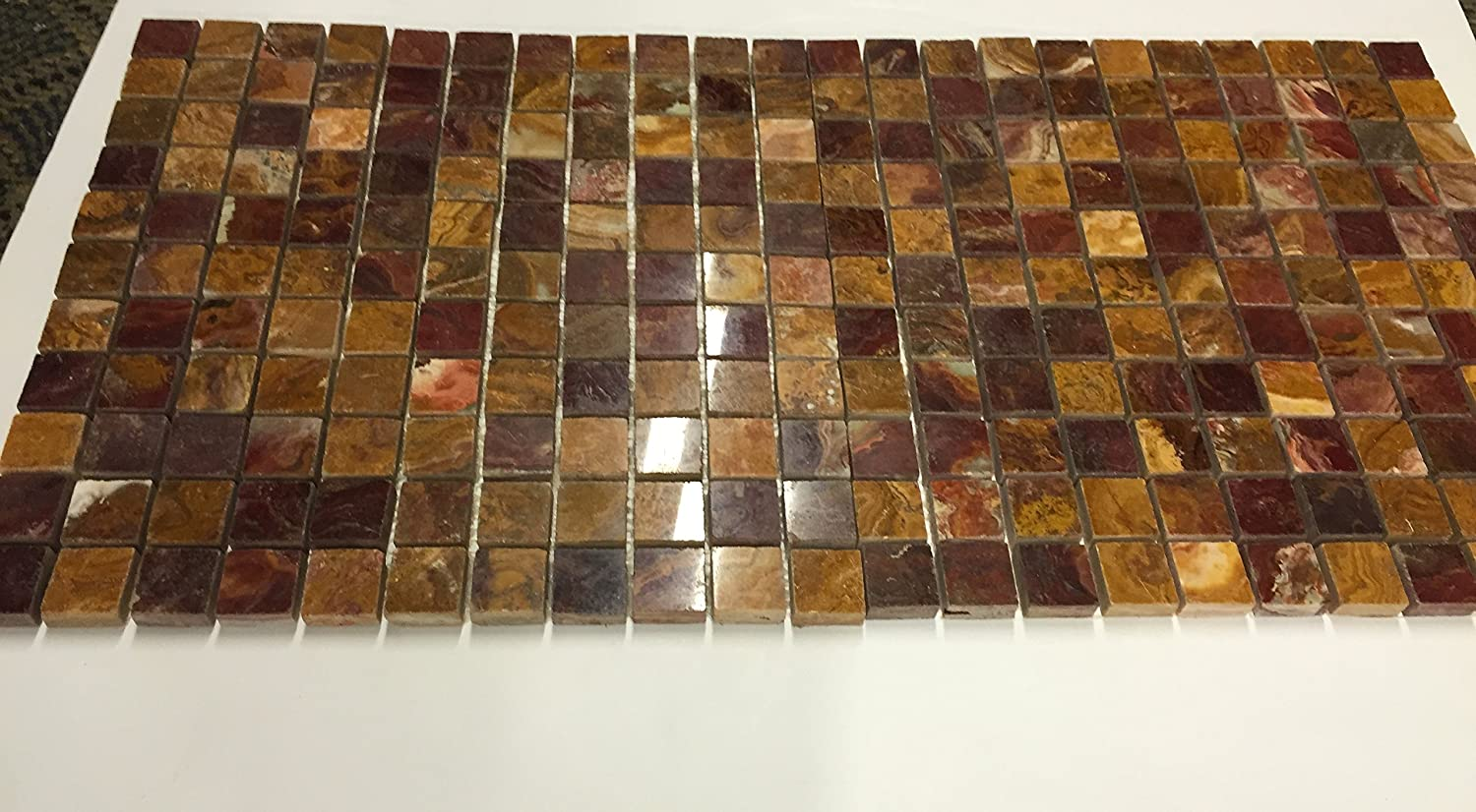 Red onyx 1x1 polished mosaics meshed on 12 x 12 tiles for bathroom red onyx 1x1 polished mosaics meshed on 12 x 12 tiles for bathroom flooring kitchen backsplash shower walls marble tiles amazon dailygadgetfo Image collections