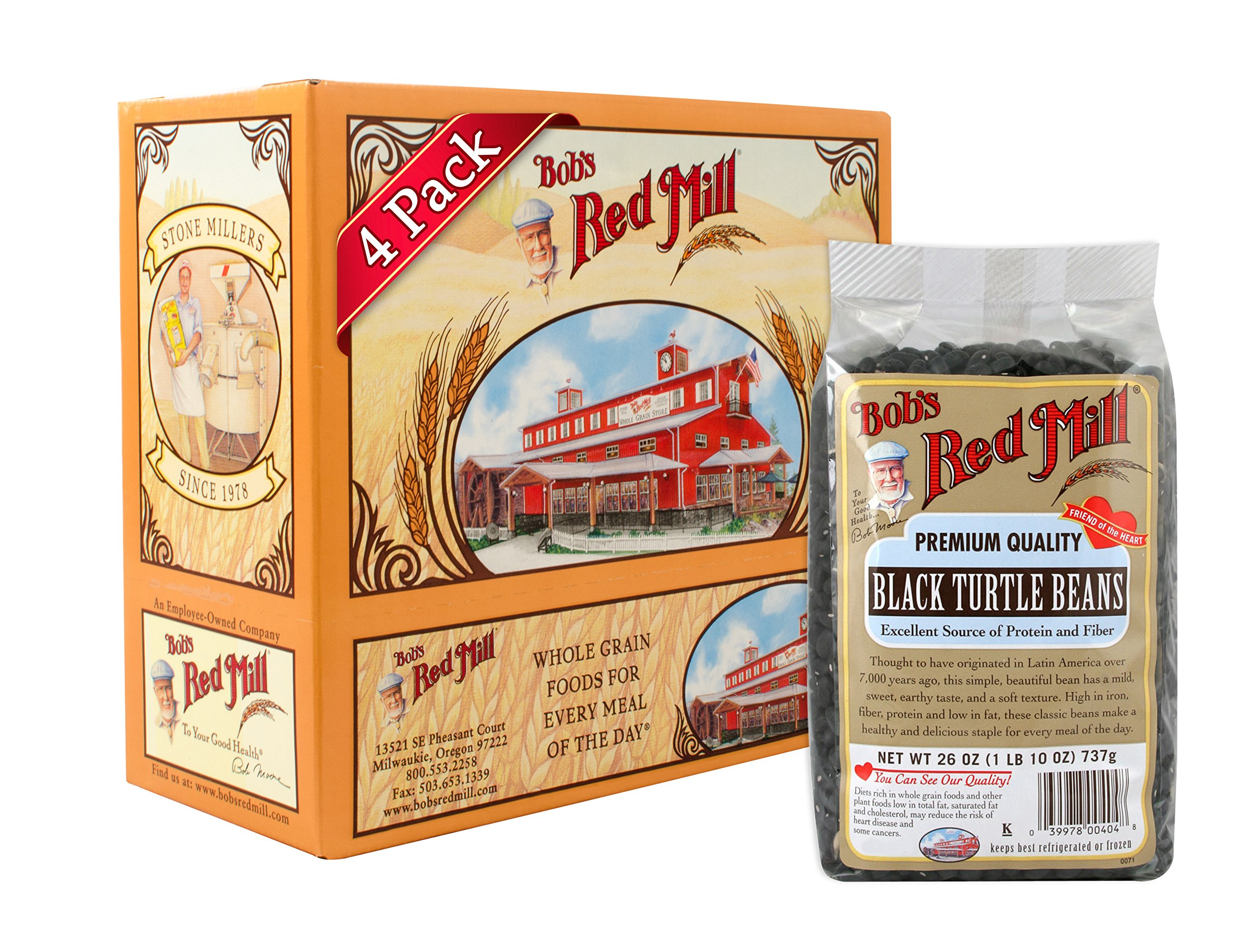 Bob?s Red Mill Beans, Black Turtle, 26-ounces (Pack of4)