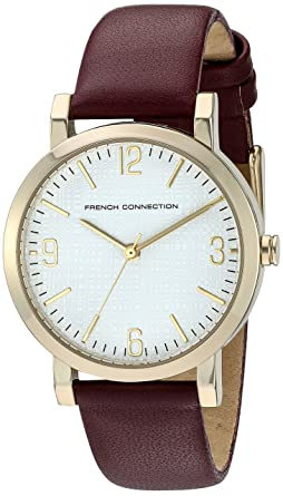 b8c8f96cc25 French Connection Women's 'Catherine' Quartz Stainless Steel and Leather  Watch, Color:Purple