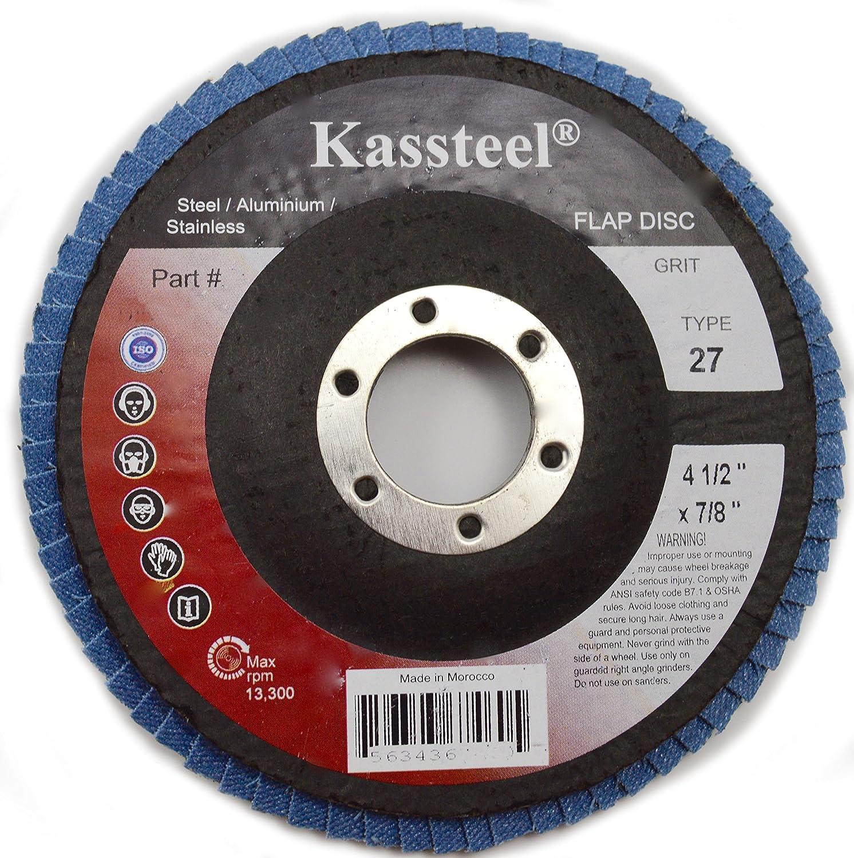 4-1//2 x 7//8 4-1//2 x 7//8 Kasteel Abrasives Kassteel 67248 High Density Blue Zirconia Type T27 36 Grit Jumbo Flap Discs 10 Pack