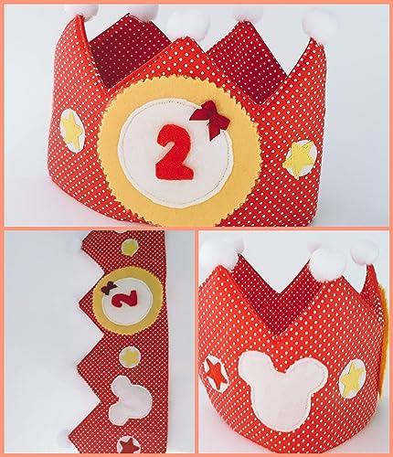 Corona cumpleaños - aniversario tela bebe topos rojos minnie ...