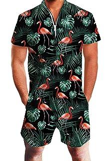 entire collection exquisite style online shop uideazone Men Romper 3D Printed Zipper Jumpsuit Short Sleeve ...