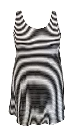cb347b3e3d Honey Run Women's Plus Size Striped Bamboo Racerback Summer Dress Swim  Coverup at Amazon Women's Clothing store: