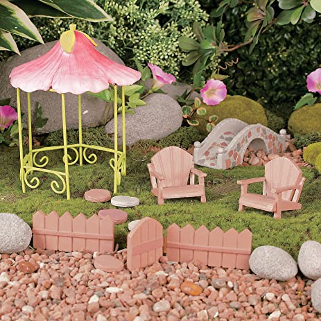 Garden Gnome And Fairy Miniature Wooden Outdoor Furniture Decoration Set  With Gazebo, Bridge, Chairs