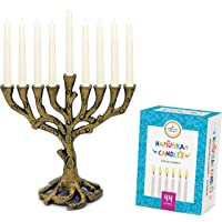Menorah Tree of Life Mini, Brass - White Candles for All 8 Days of Hanukkah Included