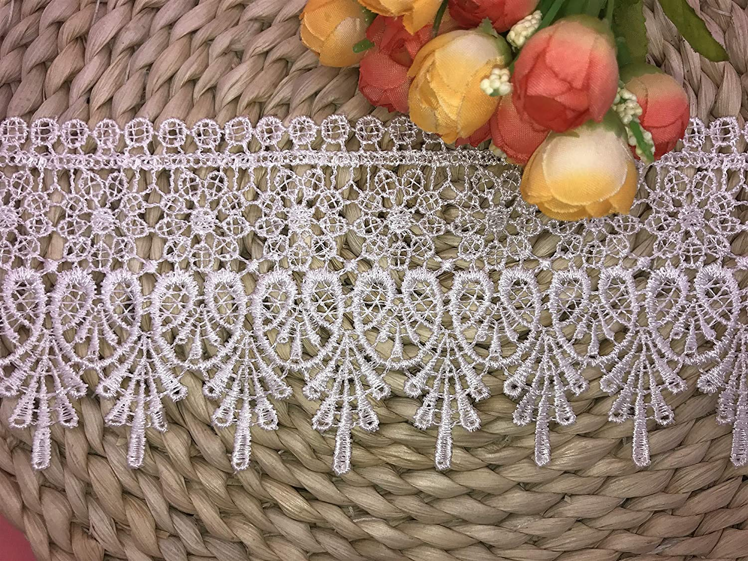 9CM Width Europe Chips Pattern Inelastic Embroidery Lace Trim,Curtain Tablecloth Slipcover Bridal DIY Clothing//Accessories. 4 Yards in one Package White