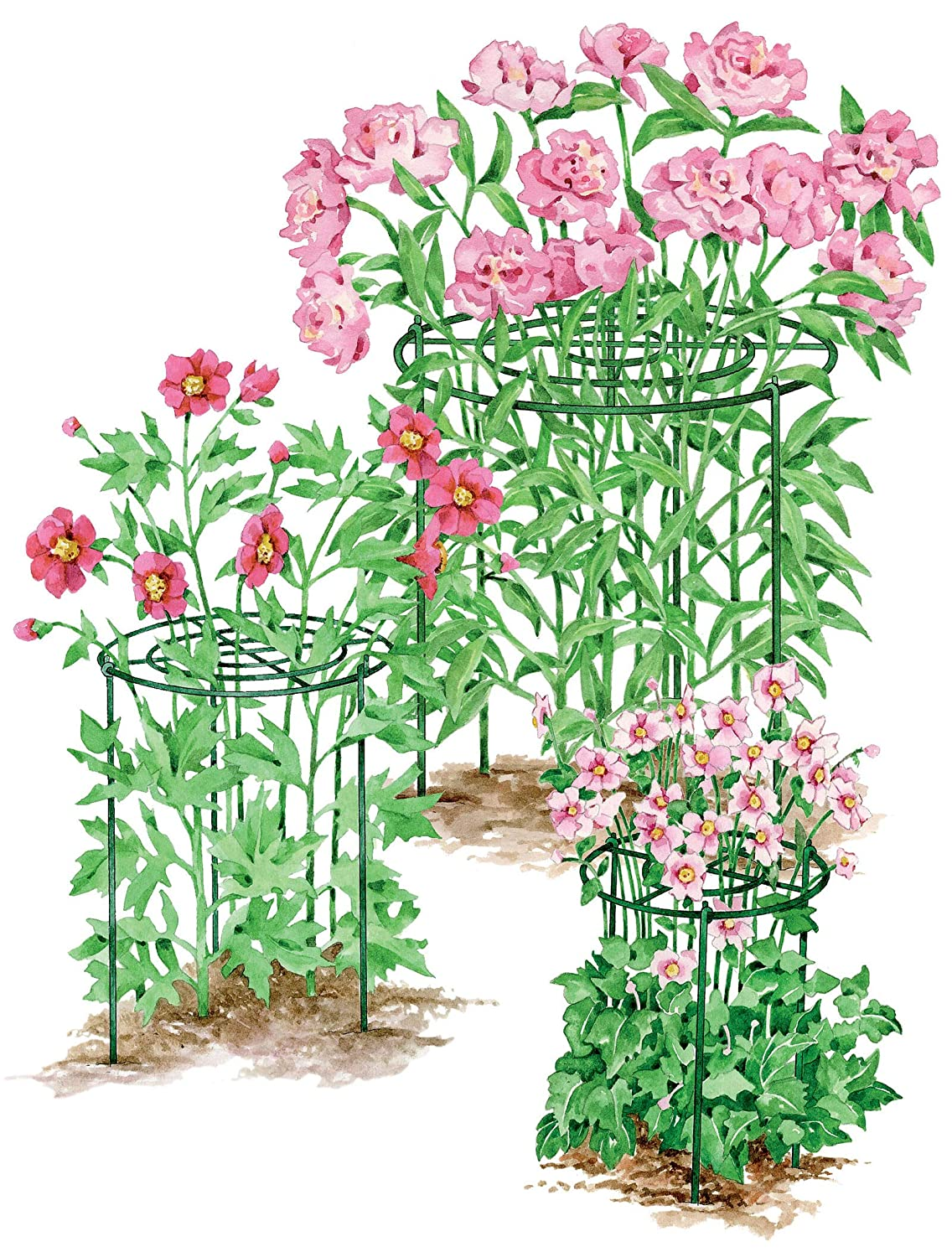 Set of 3 Gardeners Supply Company Heavy Duty 12 Grow Through Flower and Plant Supports