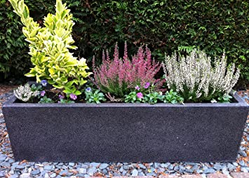 Ingarden Fibreglass Planters. Trough Terrazzo Effect Garden Planter    Black/Charcoal Large