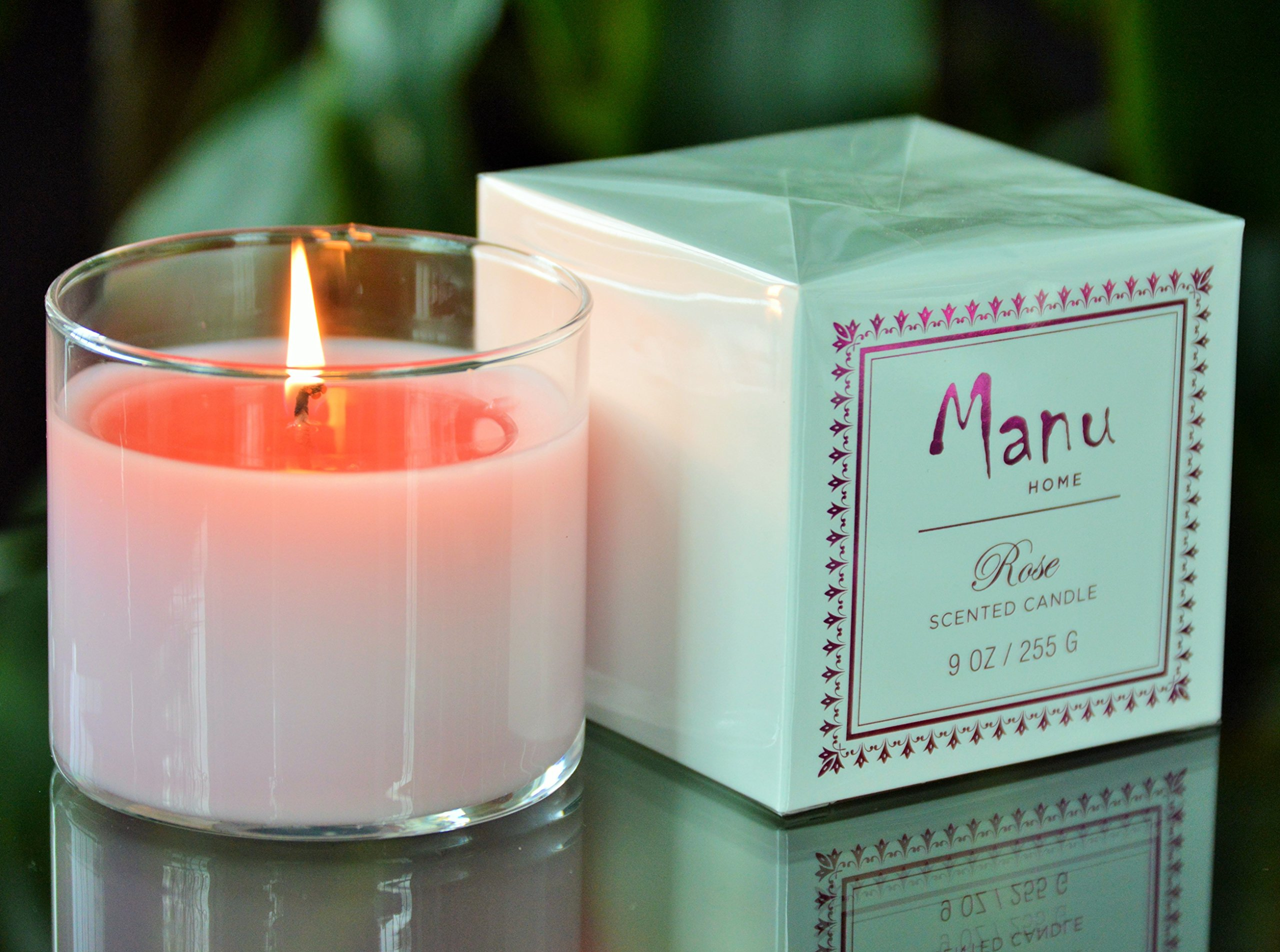 Manu Home Aromatherapy ROSE Candle in a Beautiful Reusable Clear Glass~ Infused with Tuberose to Enhance the Serene Floral Notes ~ Perfect Gift! ~ 9oz fill!
