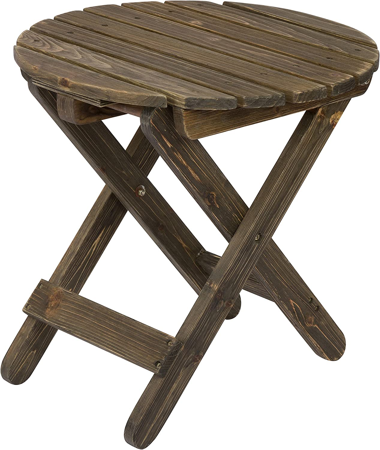 Shine Company Rustic Round Folding Table, Barnwood