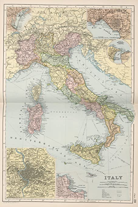 Amazon world atlas map italy 28 1891 historic antique world atlas map italy 28 1891 historic antique vintage map reprint gumiabroncs Images
