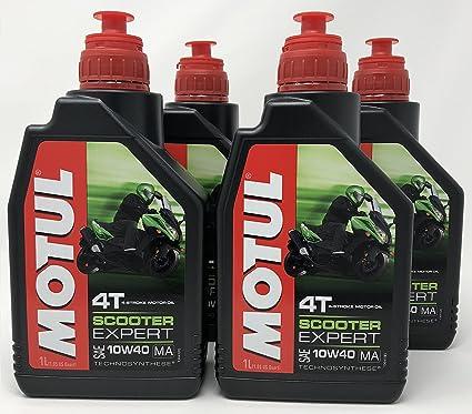 Aceite Moto - Motul Scooter Expert 4T 10W-40, 4 litros (4x1 ...