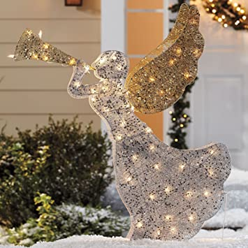 48 lighted nativity trumpet gold silver sequin angel yard decor christmas holiday stake outdoor decoration